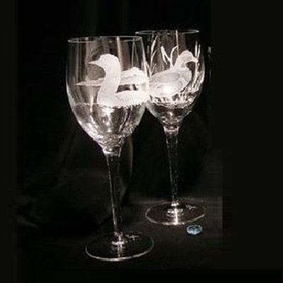 Loon Crystal 13 oz Wine Glass Set of 2