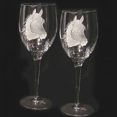 Horse Head Crystal 13 oz Wine Glass Set of 2