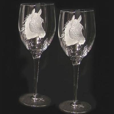 Horse Head Crystal 13 oz Wine Glass Set of 2