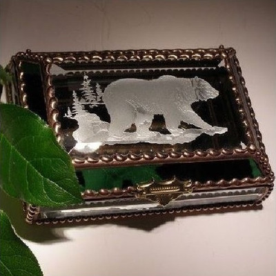 Grizzly Bear Stained Glass Jewelry Box