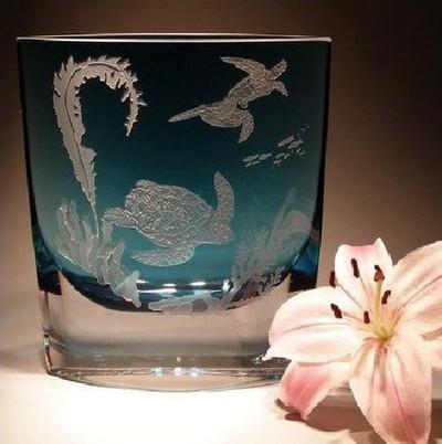 Sea Turtle Light Blue Wedge Crystal Vase