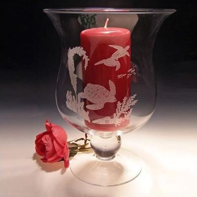 Sea Turtle Scene Crystal Hurricane Candle Holder