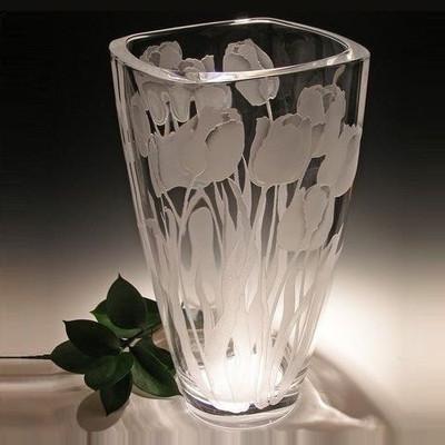 Tulip Squared Crystal Vase
