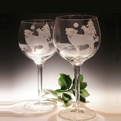 Wolf Etched Crystal 18 oz Wine Glass Set of 2