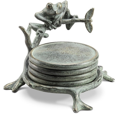Frog on Branch Coaster Set With Stand | 34182