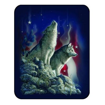 Wolf Blanket Patriotic Wolves