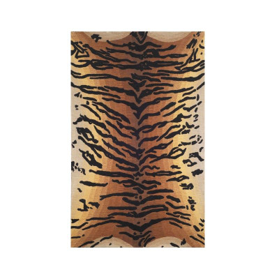 Tiger Print 5' x 8' Wool Area Rug