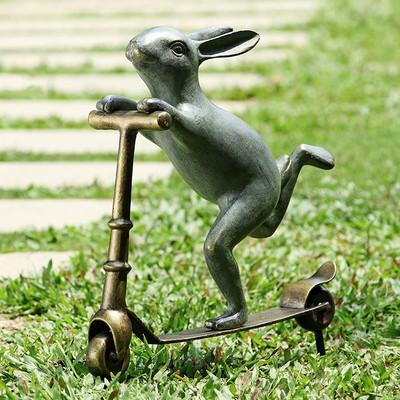 Bunny Scooter Garden Sculpture | 34214