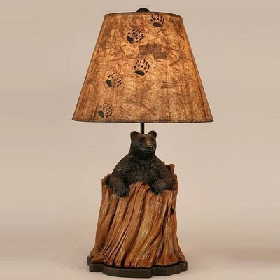 Black Bear in Tree Stump Table Lamp