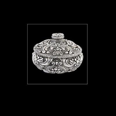 Silver Plated Round Jewelry Box | U302