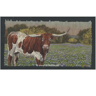 Longhorn and Bluebonnets Print