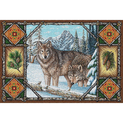Gray Wolf Lodge Tapestry Placemat Set