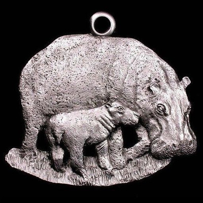 Hippo Pewter Ornament