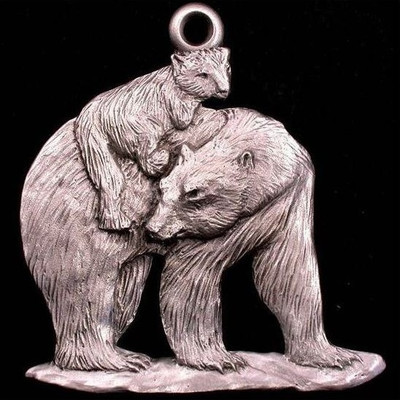 Polar Bear with Cub Pewter Ornament