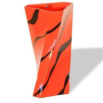 Orange Zebra Twist Art Glass Vase