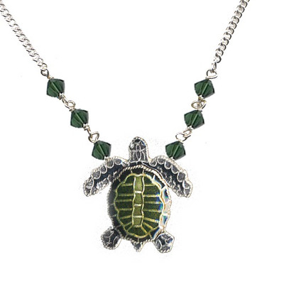 Olive Ridley Sea Turtle Cloisonne Small Necklace | Nature Jewelry