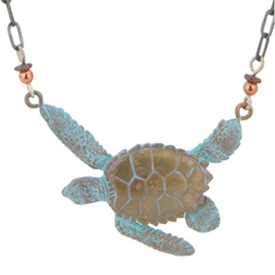 Sea Turtle Bronze Necklace | Nature Jewelry