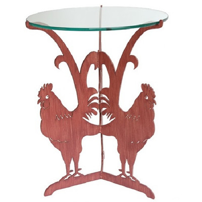 Rooster Glass Top Table