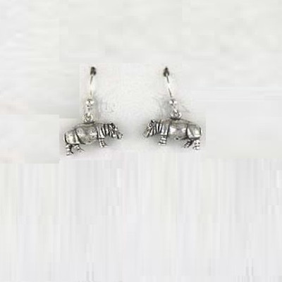 Hippo Sterling Silver Wire Earrings | Nature Jewelry