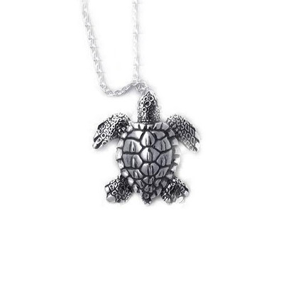 Sea Turtle Pendant Sterling Silver Necklace | Nature Jewelry