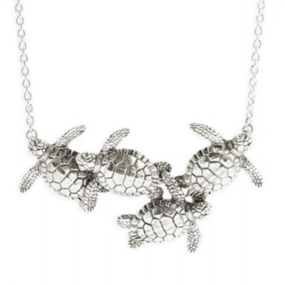 Four Sea Turtles Sterling Silver Necklace | Nature Jewelry