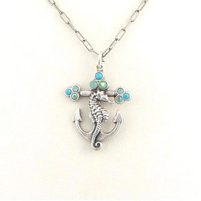 Seahorse and Anchor Il Mare Turquoise Necklace | Nature Jewelry