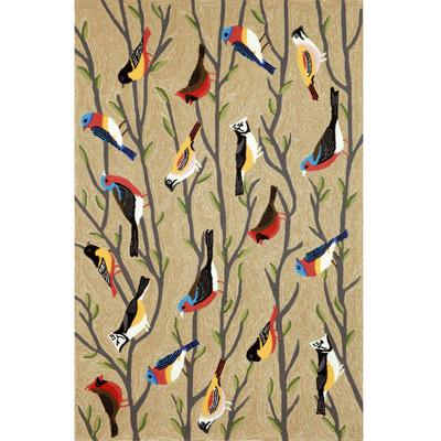 """Frontporch Birds 42"""" x 66"""" Indoor Outdoor Area Rug"""
