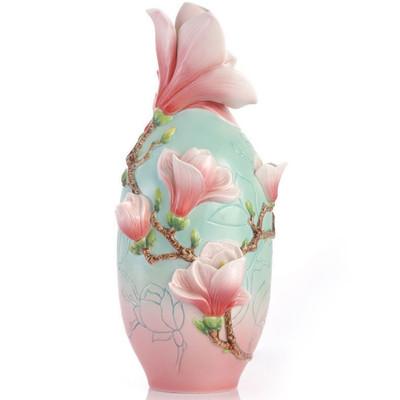 Magnolia Flower Sculptured Porcelain Vase | FZ03414
