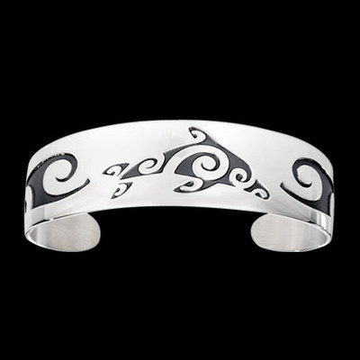 Dolphin Tribal Sterling Silver Bracelet | Nature Jewelry