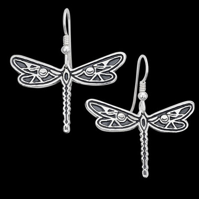 Dragonfly Silver Wire Earrings | Nature Jewelry
