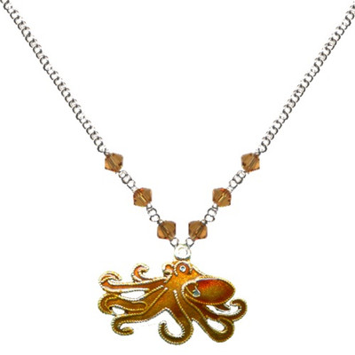 Octopus Cloisonne Small Necklace | Nature Jewelry