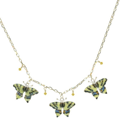 Swallowtail 3 Piece Cloisonne Crystal Necklace | Nature Jewelry