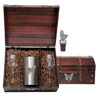 Butterfly Wine Chest Set