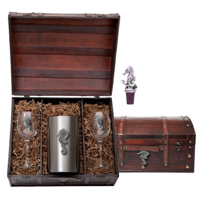 Seahorse Wine Chest Set | Heritage Pewter | HPIWSC3400