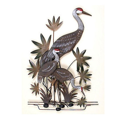 Sandhill Crane Momma and Chicks Wall Sculpture