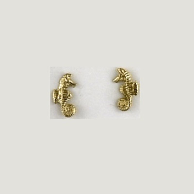 Seahorse 14K Gold Post Earrings | Nature Jewelry