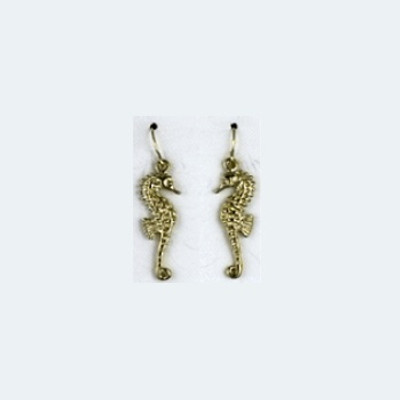 Seahorse 14K Gold Wire Earrings | Nature Jewelry