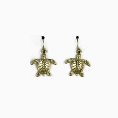 Turtle 14K Gold Wire Earrings | Nature Jewelry
