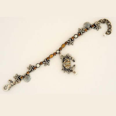 Crab Single Strand Starfish Charm Bracelet | Nature Jewelry