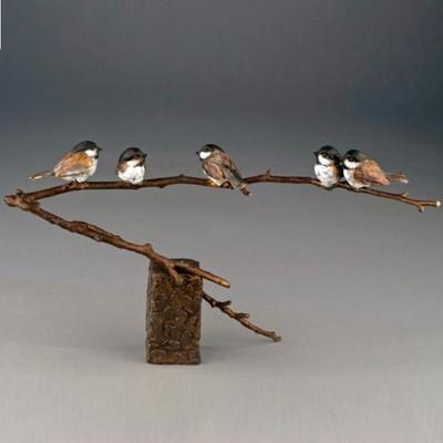"Chickadee Bronze Sculpture ""Family Reunion"""