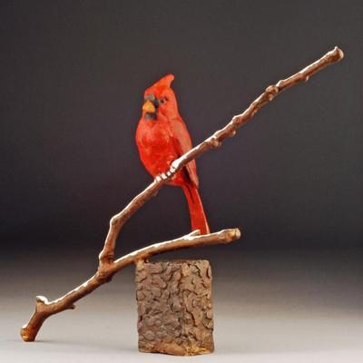 """Cardinal Bronze Sculpture """"Winter Song"""""""