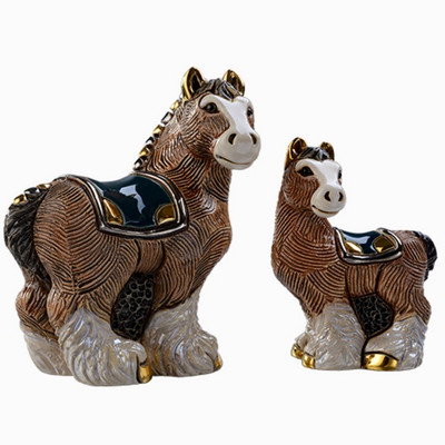 Clydesdale Horse and Baby Ceramic Figurine Set | Rinconada