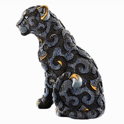 Black Panther with Arabesques Ceramic Figurine | Rinconada