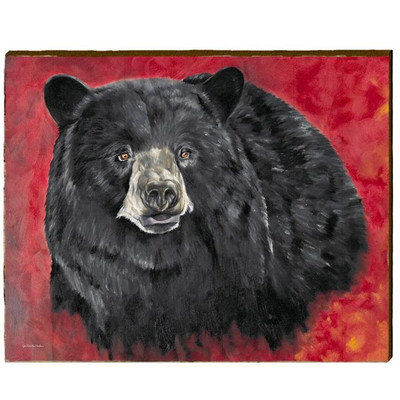 Bear Red Background Wood Wall Art