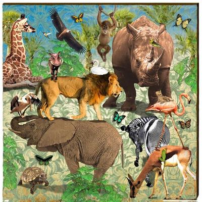 Safari Wood Wall Art 30x30 Art