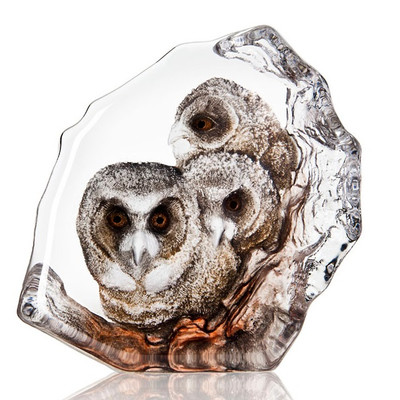 Owlets Painted Crystal Sculpture | 34201