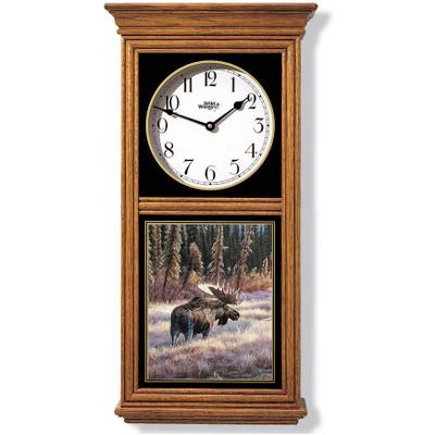 Moose Oak Wood Regulator Wall Clock