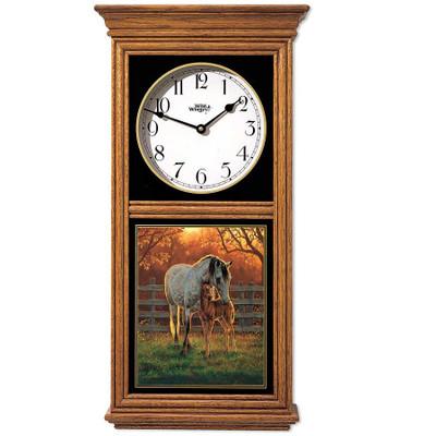 Horse Oak Wood Regulator Wall Clock