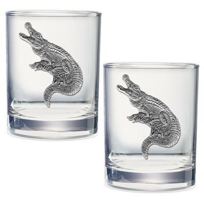 Alligator Double Old Fashioned Glass Set of 2