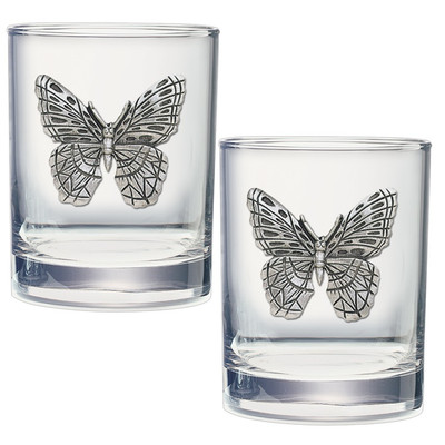 Butterfly Double Old Fashioned Glass Set of 2   Heritage Pewter   DOF4053